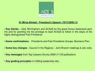 Dr Mirza Ahmad - President s Speech: 19