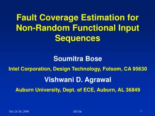 Fault Coverage Estimation for Non-Random Functional Input Sequences