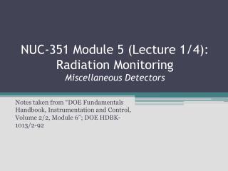 NUC-351 Module 5 Lecture 1