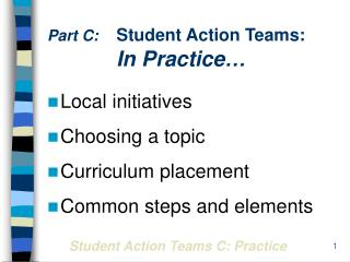 Part C: Student Action Teams:  In Practice