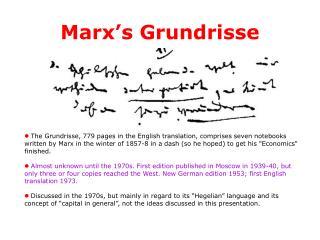 Marx s Grundrisse