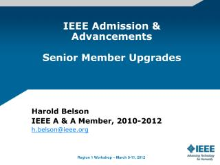 IEEE Admission  Advancements  Senior Member Upgrades