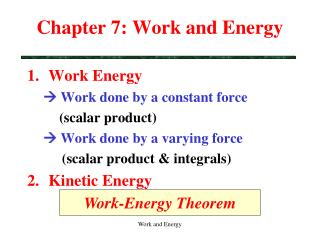 Chapter 7: Work and Energy
