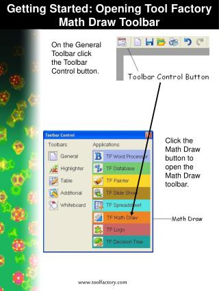 Getting Started: Opening Tool Factory Math Draw Toolbar