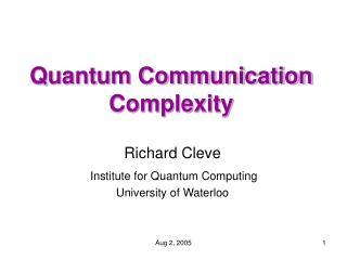 Quantum Communication Complexity