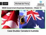 Case Studies: Canada  Australia