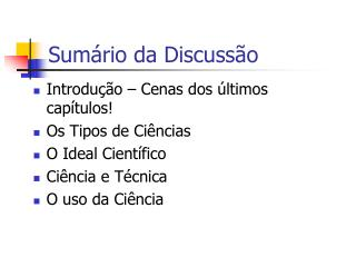 Sum rio da Discuss o