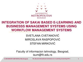 Integration OF SAKAI based E-learning and BUSINESSS MANAGEMENT SYSTEMS USING Workflow management systems