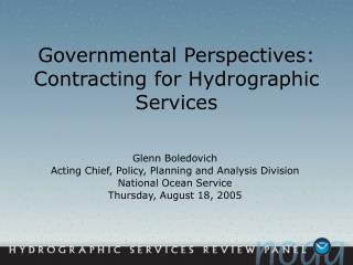 Governmental Perspectives: Contracting for Hydrographic Services