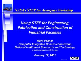 NASA s STEP for Aerospace Workshop