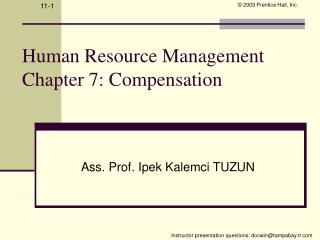 Human Resource Management Chapter 7: Compensation