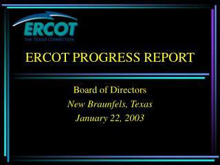 ERCOT PROGRESS REPORT