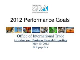 2012 Performance Goals