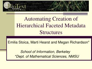 Automating Creation of Hierarchical Faceted Metadata Structures