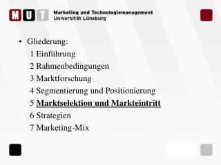 Gliederung: 1 Einf hrung 2 Rahmenbedingungen 3 Marktforschung 4 Segmentierung und Positionierung  5 Marktselektion und M