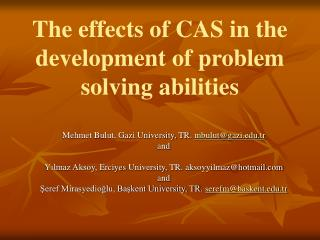 The effects of CAS in the development of problem solving abilities