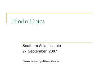 Hindu Epics