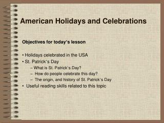 American Holidays and Celebrations