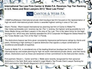 International Tax Law Firm Cantor & Webb P.A. Receives