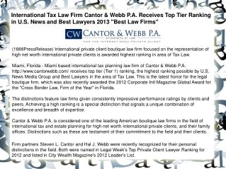 International Tax Law Firm Cantor & Webb P.A. Receives