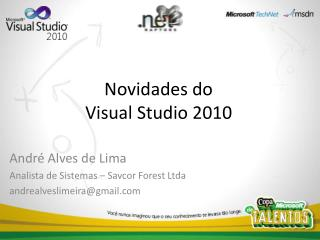 PPT da Apresenta  o de Visual Studio 2010