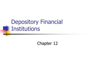 Depository Financial Institutions