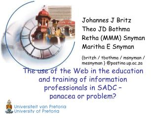 The use of the Web in the education and training of information professionals in SADC    panacea or problem