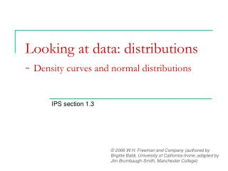 Looking at data: distributions - Density curves and normal distributions