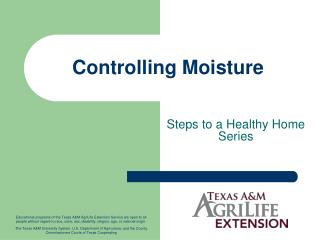 Controlling Moisture