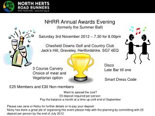 NHRR Annual Awards Evening formerly the Summer Ball  Saturday 3rd November 2012   7.30 for 8.00pm  Chesfield Downs Golf