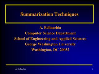 Summarization Techniques