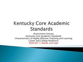 Kentucky Core Academic Standards