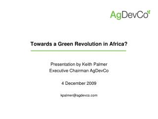 Towards a Green Revolution in Africa