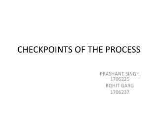CHECKPOINTS OF THE PROCESS