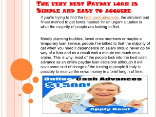The very best Payday loan is Simple and