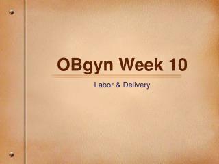 OBgyn Week 10