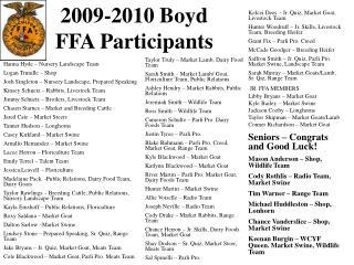 2009-2010 Boyd FFA Participants