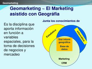 Es la disciplina que aporta informaci n en funci n a variables espaciales, para la toma de decisiones de negocios y merc