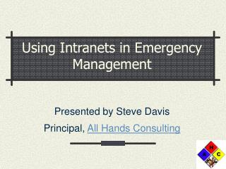 Using Intranets in Emergency Management
