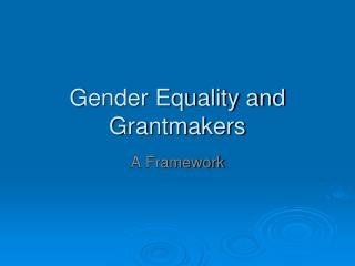 Gender Equality and Grantmakers