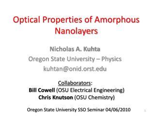 Optical Properties of Amorphous Nanolayers