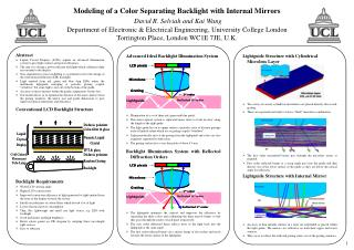 Modeling of a Color Separating Backlight with Internal Mirrors  David R. Selviah and Kai Wang Department of Electronic