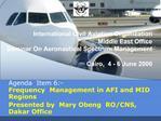 International Civil Aviation Organization Middle East Office Seminar On Aeronautical Spectrum Management  Cairo,  4 - 6