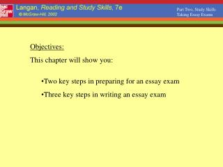 Part Two, Study Skills Taking Essay Exams