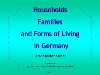 Households Families and Forms of Living   in Germany