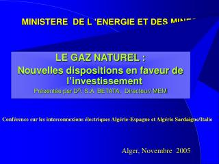 MINISTERE  DE L  ENERGIE ET DES MINES