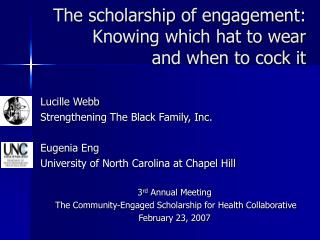 The scholarship of engagement:  Knowing which hat to wear  and when to cock it