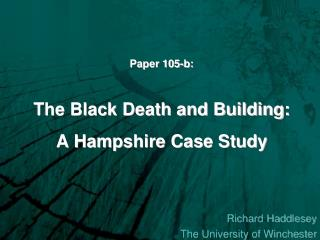 Paper 105-b:  The Black Death and Building:  A Hampshire Case Study