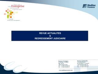 REVUE ACTUALITES  REDRESSEMENT JUDICIAIRE