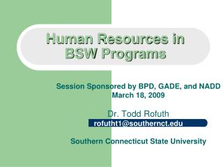 Human Resources in  BSW Programs